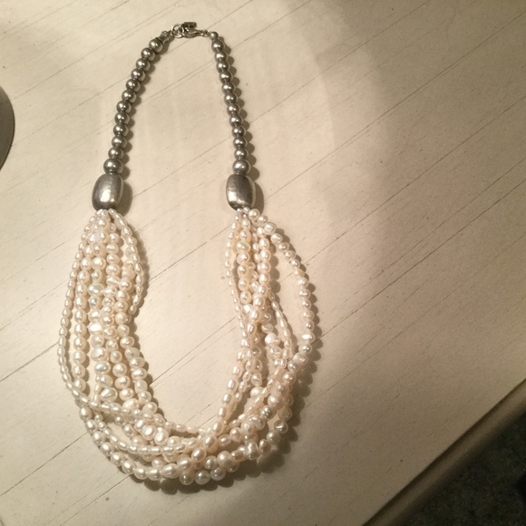 Silpada silver and freshwater pearl necklace